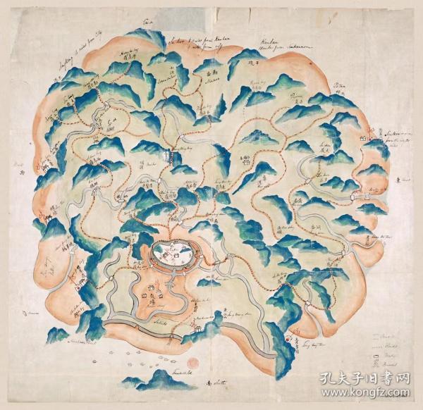 古地图1841 定海县舆图 教场 清道光21年后 。纸本大小66.98*65厘米。宣纸艺术微喷复制。