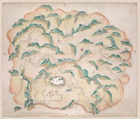 古地图1841 舟山岛全图 清道光21年后 。纸本大小55.61*65.021厘米。宣纸艺术微喷复制。