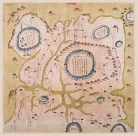 古地图1842 浙江太平县营舆图 清道光22年以后。纸本大小56.79*56.2厘米。宣纸艺术微喷复制
