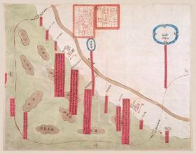 古地图1843 如皋县沿海口岸图 清道光年间 。纸本大小54.85*69.76厘米。宣纸艺术微喷复制。
