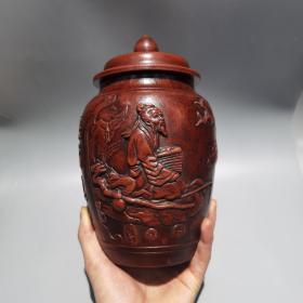 姜太公钓鱼 愿者上钩紫砂茶叶罐