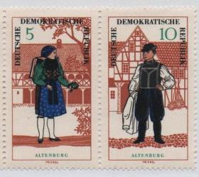 民主德国东德邮票,1964年民族服装,2枚,181015