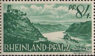 德国莱茵兰.普法尔兹州邮票,1947年多瑙河城堡,建筑风景181015