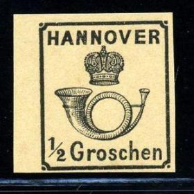 德国邮票G:1859年汉诺威古典邮票,新,邮政号角、王冠,