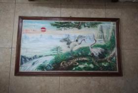 漂亮美雅的手绘松鹤纹粉彩木板画