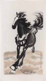 近现代-徐悲鸿-平原奔马原图-46.5x80.5cm 高清微喷复制品
