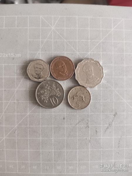外国硬币牙买加5个,满五十元包邮