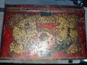 箱31,民国 英美烟草公司,哈德门大号牌香烟铁制广告铁盒,23*14.5*9.5cm缺盖
