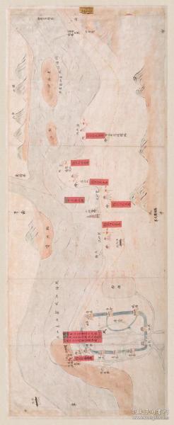 古地图1843 钱塘县沿江营汛处所图说 清道光23年以前。纸本大小30.73*74.67厘米。宣纸艺术微喷复制。