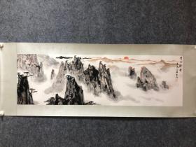 亚明山水作品 尺寸:112-34厘米