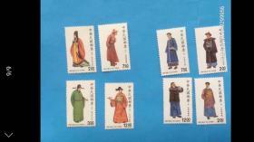 台湾早期30年前邮票!台湾男服二组邮票,原胶新票上品,底无薄裂折,邮局挂号信发货