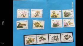 台湾早期30年前邮票!台湾花卉三组大全邮票,原胶新票上品,底无薄裂折,邮局挂号信发货