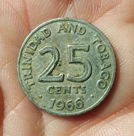 """1966年""""特立尼达和多巴哥""""25分一枚(保真)"""