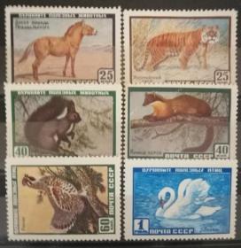 【苏联邮票SLYP1959年2325动物老虎天鹅等6全】