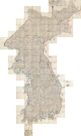 古地图1861大东舆地图哈佛藏本。韩国朝鲜高丽。纸本大小129.45*217.71厘米。宣纸艺术微喷复制。780元包邮