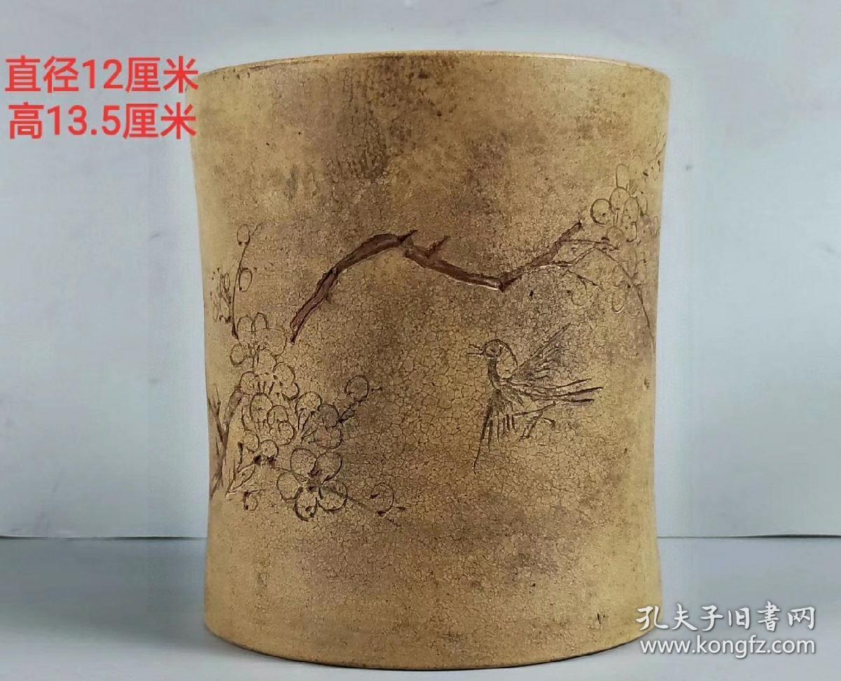 紫砂制喜鹊登梅老紫砂笔筒,砂质好,适合收藏。