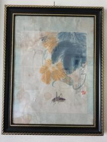 50年代荣宝斋木板水印原装老裱齐白石《瓜虫图》,外框为现代装璜,拍摄因为玻璃反光有杂光