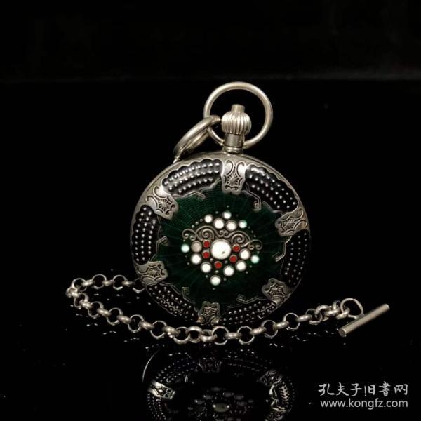 旧藏国外回流景泰蓝银机械怀表,银怀表直径5.5厘米,买家自鉴