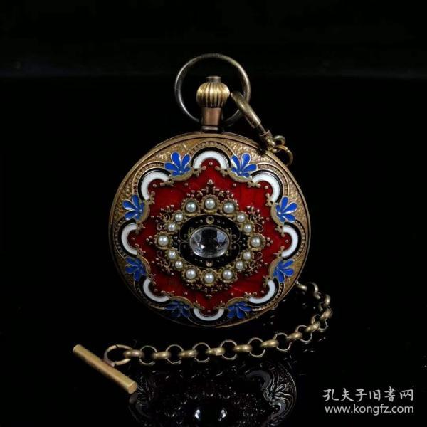 旧藏国外回流景泰蓝双开铜机械怀表,买家自鉴.