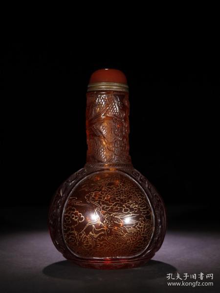 茶琉璃 描金龙纹 鼻壶
