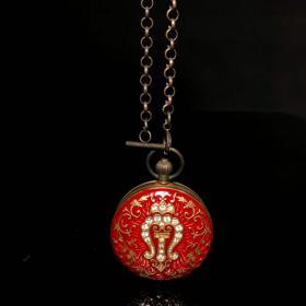 旧藏国外回流景泰蓝镶嵌宝石铜机械怀表,,买家自鉴