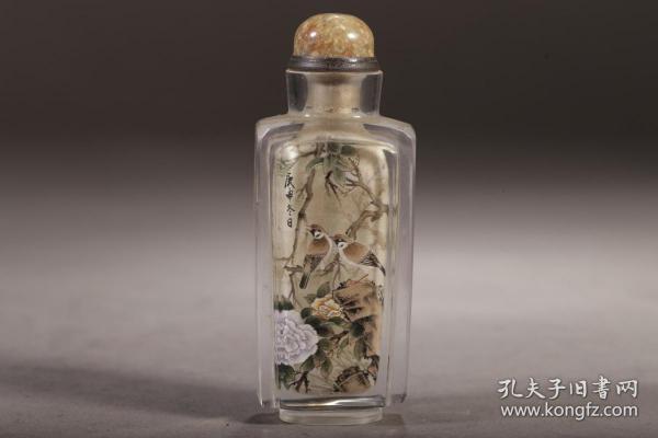 旧藏,水晶内绘花鸟纹鼻烟壶