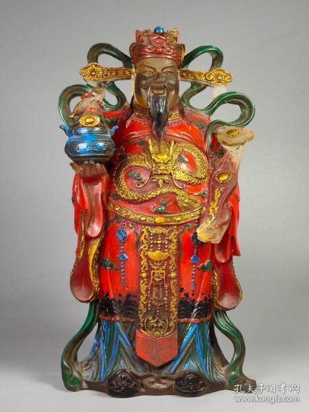 民藏精品古法琉璃手工彩绘描金财神爷供像 重2750克