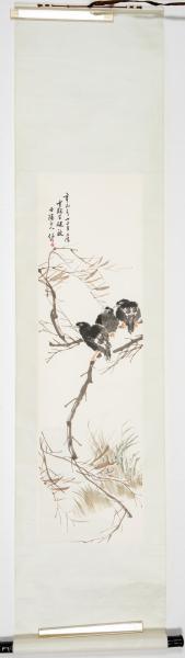 八十年代 杨柳青画社 精制木版水印 任伯年《柳枝八哥》一幅(纸本立轴,画心约2.9平尺,钤印:杨柳青画社)HXTX325306