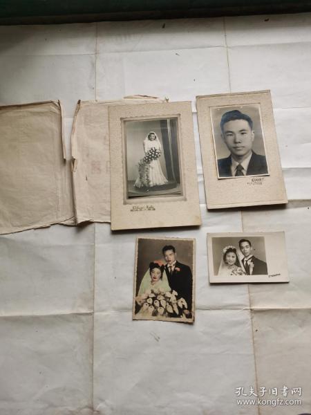 民国时期著名书法家钝根家中流出结婚合影照四种合售