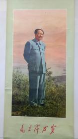 挂轴大文革年画:毛主席万岁(颜色鲜艳)少见品种,可以悬挂  方式: 零售