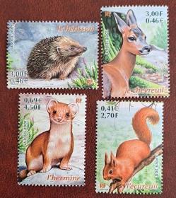 法国邮票2001年 小动物:松鼠 鹿 貂 刺猬 4全