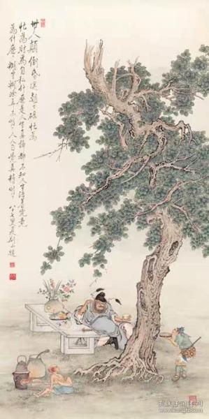 高清复制名家字画  夏荆山 钟馗采耳 65x130cm纸本挖耳掏耳图