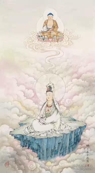 高清复制名家字画  夏荆山 观自在观音 51x92cm