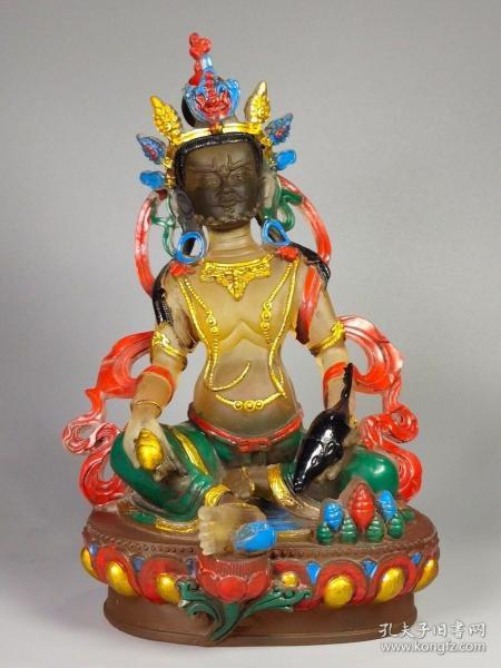 民藏精品古法琉璃手工彩绘描金黄财神供像 重2285克