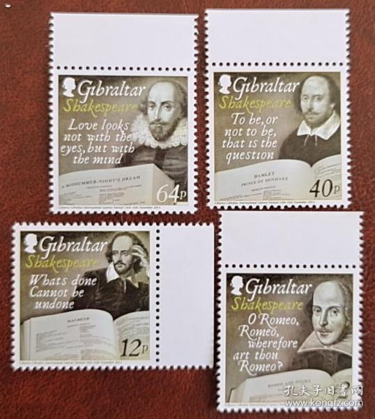 直布罗陀 2014 年莎士比亚诞辰450 周年邮票4 全 全品 雕刻版