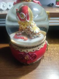 新年中国风特色礼物装饰摆件水晶球音乐盒八音盒 舞狮中国风【音乐/自动雪花/旋转/】