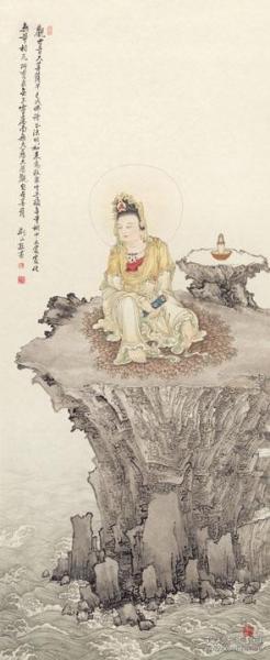 高清复制名家字画  夏荆山 观自在观音 70x170cm