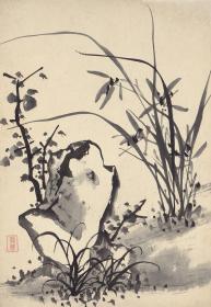 清代 诸升 兰竹石图册四开-21.8x31.5cm 高清微喷复制品