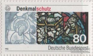 德国邮票F,1986年文物保护·累根斯堡教堂玻璃绘画,1全