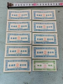 1975年广宁县食油票十张  两种面值