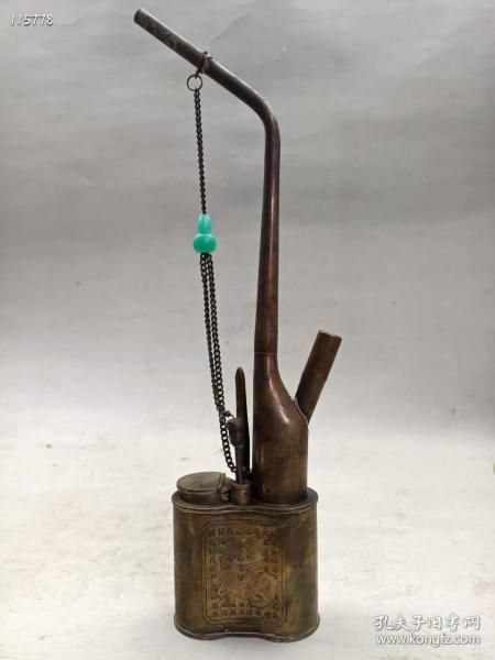 民国时期纯铜制福寿水烟袋一把,品如图