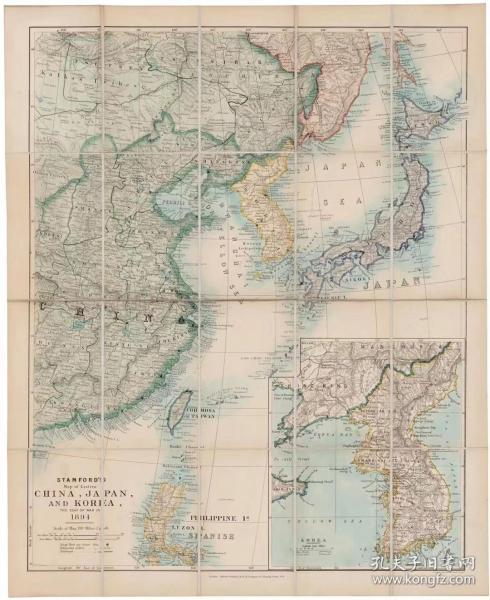 0347古地图1827-1904 中国-日本和韩国地图(英版)。纸本大小55.19*67.52厘米。宣纸艺术微喷复制