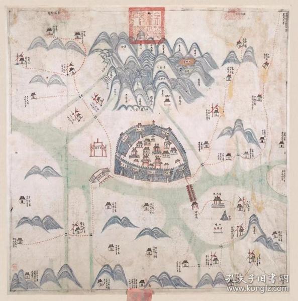 0357古地图1823 金华县舆图 清道光3年以后。纸本大小 55.73*56.34厘米。宣纸艺术微喷复制