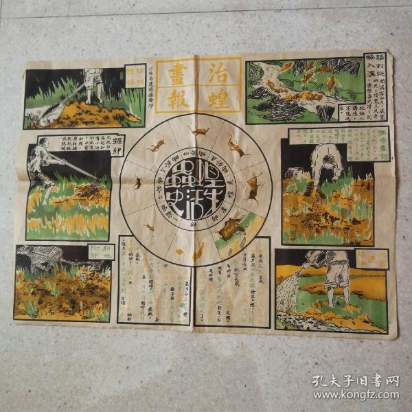 治蝗画报(民国宣传画,江苏省建设厅绘印。39x52.5㎝)