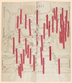 古地图1862 青浦县境舆图 清同治元年。纸本大小49.62*57厘米。宣纸艺术微喷复制。100元包邮
