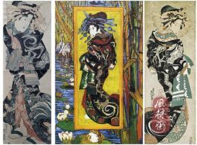珍品!溪斋英泉《云龙打掛之花魁》 梵高《花魁像》的日本艺伎模特原型 大判竖二枚 江户原版浮世绘