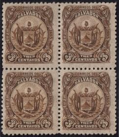 外国古典邮票ZK,萨尔瓦多1896年国徽,太阳、自由帽、国旗,方联