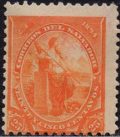 外国古典邮票ZK,萨尔瓦多1894年哥伦布发现美洲400年和平女神25c