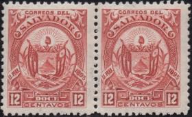 外国古典邮票ZK,萨尔瓦多1896年国徽,太阳自由帽国旗12c,1枚价