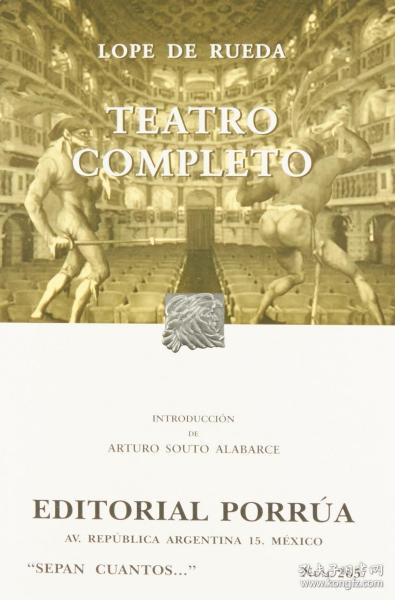 预订 Teatro Completo戏剧全集,洛佩·德·鲁埃达作品,西班牙文原版